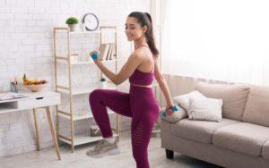 Woman doing aerobic HIIT workout
